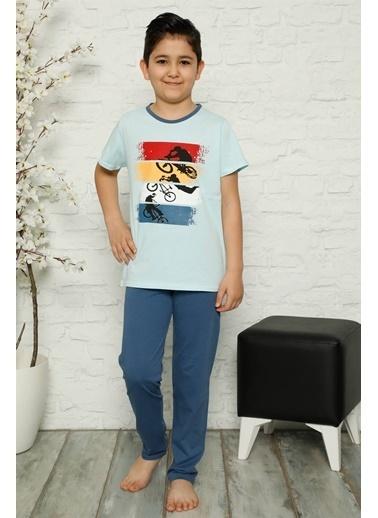 Akbeniz Çocuk Pamuk Kısa Kollu Pijama Takımı 4567 Mavi